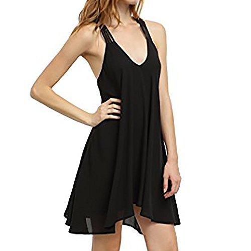 YUHUISTART Frauen KleidSommer Party Damen Sleeveless Feste BeiläUfige Kleid Backless V-Ausschnitt Swing Party Mini Kleid