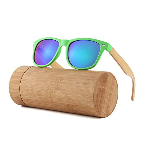 Zbertx Damen Herren Bambus Holz Sonnenbrillen Weißer Rahmen Eyewear Mit Beschichtung Uv 400 Schutzlinsen,Grün