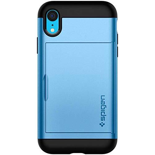 Spigen Coque iPhone XR [Slim Amor CS] Porte Carte, Coque Renforcée, PC Resistant, Air Cushion, Anti-Choc [Bleu] Coque Etui Carte Housse pour iPhone XR (6.1 Pouces) (2018) (064CS25345)