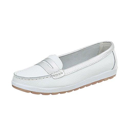 Ital-Design Mokassins Leder Damen-Schuhe Moderne Halbschuhe Weiß, Gr 37, 5005-
