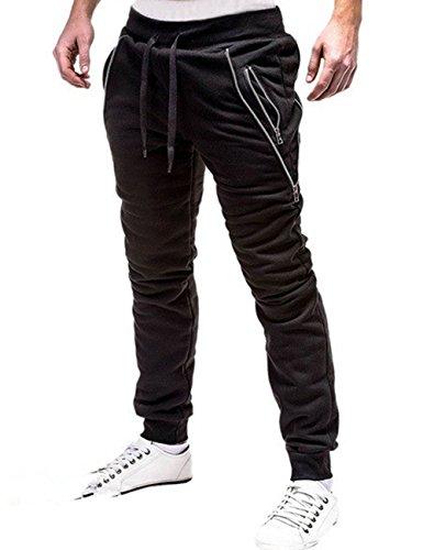 SOMTHRON Herren Elastische Taille Gürtel Baumwolle Jogging Sweat Hosen Plus Size Mode Lange Sports Cargo Hosen Shorts mit Taschen Joggers Activewear Hosen (BL1-2XL)