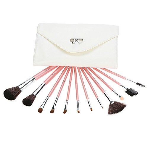 Abody 12pcs Pinceau de maquillage mis Essential Kit cosmétique avec sac cosmétique poudre pour le visage Pinceau fard à paupières sourcil Eyeliner pinceau