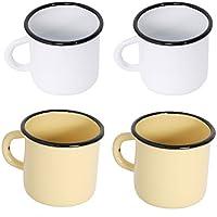 Surtido de 4 tazas de metal esmaltado - 2 blancas + 2 amarillas - 250 ml