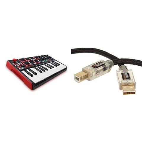 Akai Professional MPK Mini MKII Kompakter USB MIDI Keyboard & Pad Controller mit 25 tasten und anschlagdynamischen Pads, MPC Essentials (SONiVOX Wobble und Hybrid 3) + AmazonBasics abgeschirmtes USB 2.0-Kabel A-Stecker auf B-Stecker, mit beleuchteten Steckern (1,8 m) Bundle
