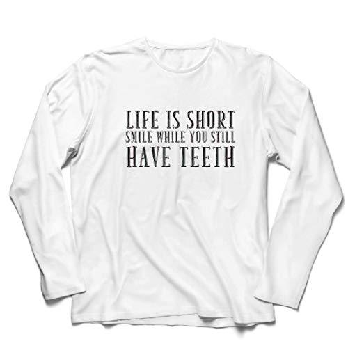lepni.me Herren T Shirts Das Leben ist kurz, lächle, während du noch Zähne hast Zitat (Small Weiß Mehrfarben)