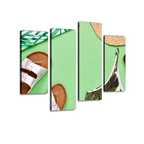 Overhead-Schuss von Top Sandale Sonnenhut und Leder Geldbörse Leinwand Wandkunst hängen Gemälde Moderne Kunstwerke abstrakte Bild Drucke Home Dekoration Geschenk einzigartig gestaltet gerahmt 4 Panel - Gerahmte Geldbörse Aus Leder