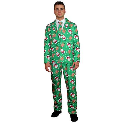 Kostüm Herren Rentier - sowest Herren Weihnachtsanzug Weihnachtsmann Rentier Lustig Gemustertes Kostüm 3-TLG