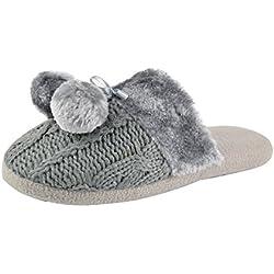 Airee Fairee Pantuflas para Mujer Zapatillas de Estar por casa de Mujer con Bordes del Tejido de Punto y Pompons Gris - S