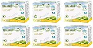 Masmi Regular Tampons Organic Cotton Non Applicator, Certified Natural Organic, Hypoallergenic, 100% Biodegradable, Perfume, Viscose, Rayon, Chlorine and Dioxin Free