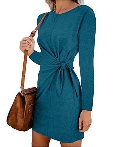Turnglam Pullover Kleid Damen Oberteil Lang Sweatshirt Oversized Einfarbig Casual Lose Herbst Kleid Pullikleid Strickpullover Sweatkleid Tops S-XXL (EU(40-42),Grün) -