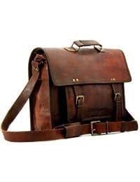 SR 15'' Big Pocket Genuine Leather Laptop Bag/ Messenger Bag/ Satchel Bag For Men & Woman