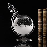 CAVEEN Creative Globe Shape Storm Glass Crystal Weather Forecaster Bottle Meteorological Display Bottle Glass Crafts Home Decoration New Year (17.5x8cm)