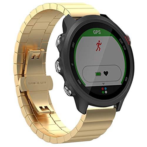WAOTIER für Garmin Forerunner 245 / 245M Armband Edelstahl Armband mit Schnellverschluss Bambusform Armband für Garmin Forerunner 245/245M Armband Eleganter Slim Armband Casual Armband (Gold)
