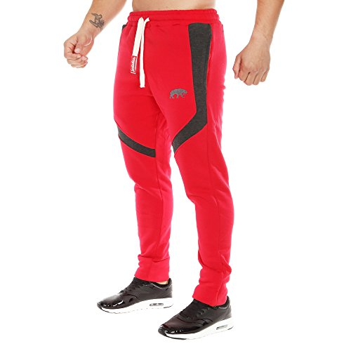 SMILODOX Slim Fit Jogginghose Herren | Trainingshose für Sport Fitness Gym Training & Freizeit | Sporthose - Jogger Pants - Sweatpants Hosen - Freizeithose Lang, Farbe:Rot/Grau, Größe:XL
