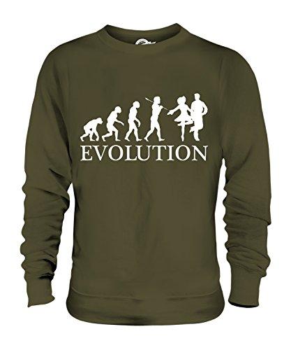 Candymix Irish Dance Evolution des Menschen Unisex Herren Damen Sweatshirt, Größe 2X-Large, Farbe Khaki Grün (Irish Dance Kleid Kostüm)
