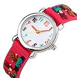 Kinderuhr Vinmori,Kinder Armbanduhr für die jungen Mädchen, 3D Zeit Lehrer Kleinkind Cartoon Uhr, Puppe Cartoon tragen Muster Silikon Band wasserdicht Quarzuhr, beste Geschenk für Kinder (rot)