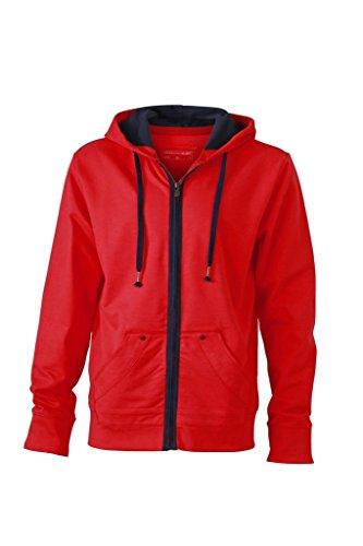 JN982 Men´s Urban Hooded Sweat Jacket Rot/Marine