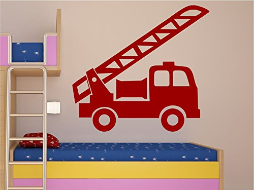Wandtattoo Wandaufkleber Kinderzimmer Wandbild Motiv Feuerwehr Leiter M1341 dunkelrot 120cm x 111cm Home-feuerwehr Leiter