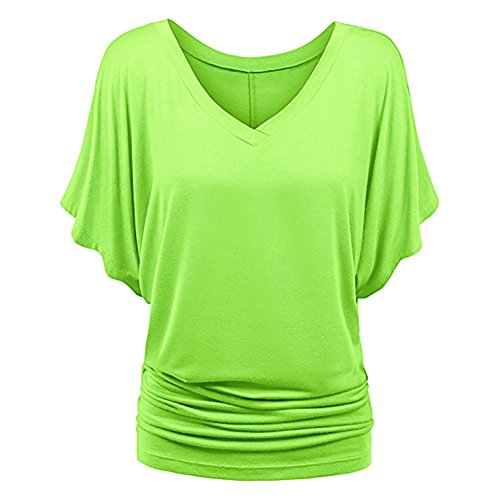iBaste Damen Oberteil Festlich T-Shirts Bluse Elegant Shirt Kurzarm Große Größen (XXXXX-Large/EU48, Grün (V-Ausschnitt))