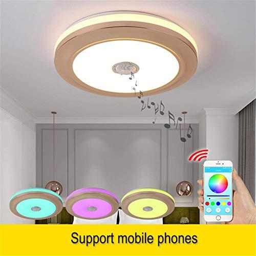 TUNBG LED Deckenleuchten rund mit Bluetooth-Lautsprecher Smartphone APP, dimmbar 18,5 Zoll Musik RGBW Farbtemperatur einstellbar, 80W Fluoreszierende äquivalente Leuchte 36W, APPandRemote,Nur APP