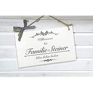 Tür-Schild für die Haustür mit Namen aus Holz