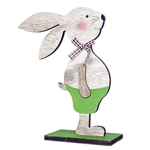 Wanshop ® decorazione pasquale in legno decorazione del coniglio statua giardino di primavera decorazione di pasqua (verde)