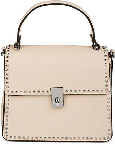 Damen-nieten-satchel (styleBREAKER Satchel Henkeltasche mit Pyramiden Nieten, Handtasche, Tasche, Damen 02012216, Farbe:Creme)