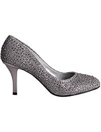 Femmes Escarpins Couture Talon Aiguille Brillants Diamants Assortis Decolleté Plongeant