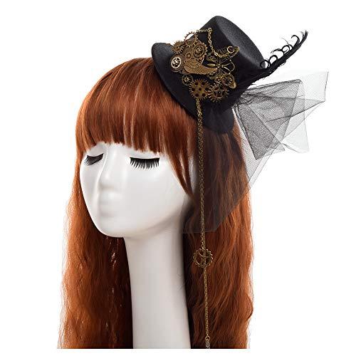 JUJIANFU-Persönlichkeit Hut Hut-Feiertagshut der Frau, roter und weißer Hut Minispitzenhut Schneeflocke-Weihnachtshut (Farbe : Schwarz, Größe : ()