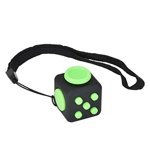 Mini Fidget Würfel von Browill[1 Stück,2.2cm] Cube gegen Stress, unruhige Hände, Perfekt für nervöse Finger zur Ablenkung [Schwarz & Grün] thumbnail