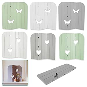 DRULINE 58 cm Wandschirm Fensterdeko Holz Aufsteller Schmetterling Herz Shabby Chic Weiß (Herz)