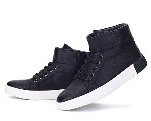 WZG chaussures de sport de haute-top chaussures hommes nouveaux hiver étudiants coréens chaussures plates dentelle chaussures Black