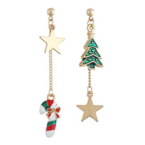 Zedo Mode Noël Boucles doreilles Pentagram Christmas Cane Christmas Tree Boucles doreilles Bijoux Cadeaux pour Femmes Filles