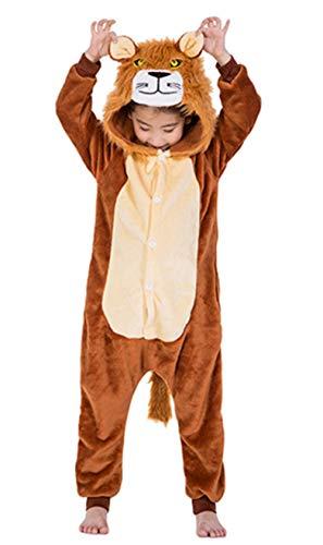 Woneart Kinder Schlafanzug Einhorn Pyjama Tier Overall Tierkostüme Jumpsuits Weihnachten Karneval Cosplay Kostüm für Mädchen Jungen (Lion, 130 for ()