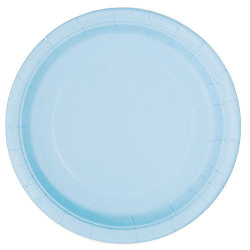 Unique Party - 30899 - Paquet de 16 Assiettes en Carton - 21,9 cm Bleu Pastel