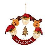 LYFWL Weihnachtsverzierungen Rustikales Holz Cane Weihnachtsschmuck Verziert Schneemann Elchkopf Puppe Weihnachtsmann Weihnachtskranz Peddigrohr Kreis Kreise Ältere Menschen