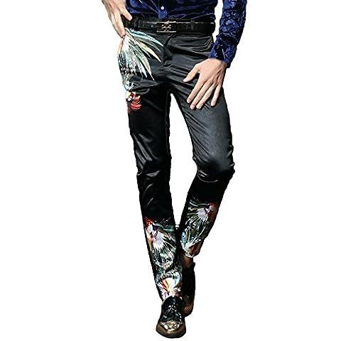 FANZHUAN Pantalons Slim Homme Pantalon Habille Homme Fleurie Pantalon Homme Slim