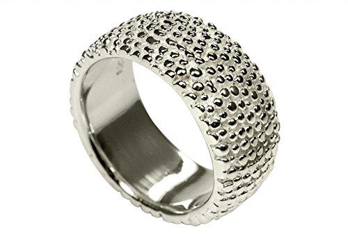 SILBERMOOS Ring Damenring Igel gepunktet strukturiert sandgestrahlt Sterling Silber 925