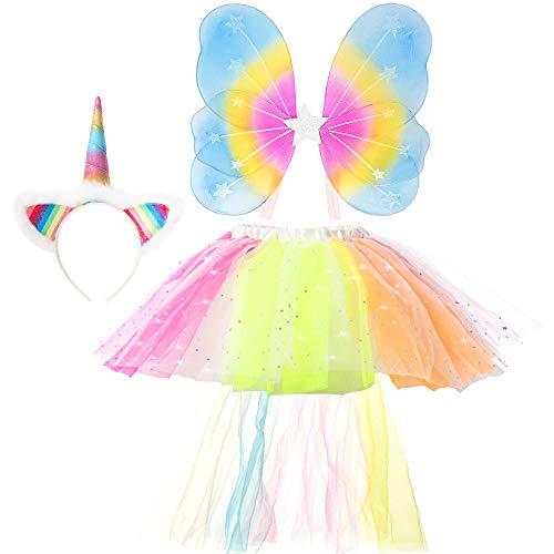 GirlZone Einhorn Kostüm-Set Verkleidung für kleine Mädchen mit Haarreif, Einhorn-Schwanz, Regenbogen Rock und Flügeln | Verstellbares Kinder-Outfit 3-6 Jahre | Ideal für Partys und als Geschenk (Geburt Kostüm Set)
