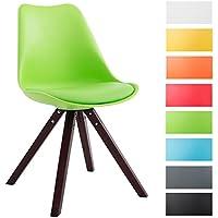 CLP Sedia dal design vintage TOULOUSE con gambe quadrate in legno color cappuccino, schienale in plastica, seduta in similpelle e imbottita. verde