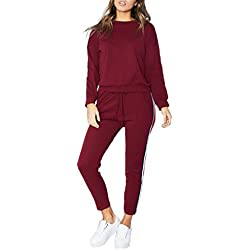 SOMTHRON Mujer Conjunto de chándal de Mujer otoño Invierno con 2 Rayas Mangas largas + Pantalones Traje Deportivo Casual Gimnasio Vida Cotidiana(WR,3XL)