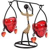 JEWEL FUEL Iron And Glass Heart Tealight Candle Holder Showpiece - B072VP6YQM