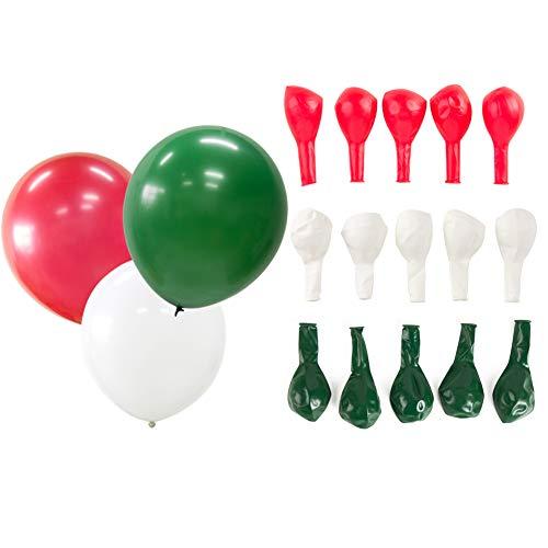 SUNBEAUTY Luftballons Set Latex Ballons Nationalfeiertag Party Dekoration (rot & grün & weiß)