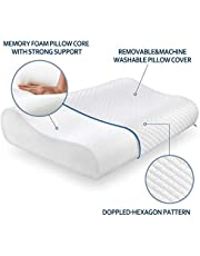 Cusiony Memory Foam Pillow Standard Size Neck & Back Support Pillow for Sleeping with Removable Zipper Cover