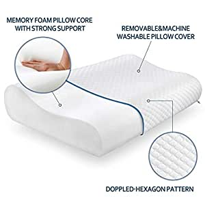 Milford Memory Foam Pillow Standard Size Neck & Back Support Pillow for Sleeping with Removable Zipper Cover