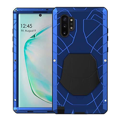 Foluu Galaxy Note 10 Plus/Note Plus 5G Hülle, Hybrid Rüstung Aluminium Metall Stoßstangenrahmen Hülle Soft Rubber Silikon Militär Heavy Duty Hard Case mit Ständer für Galaxy Note 10 Plus(Blau)