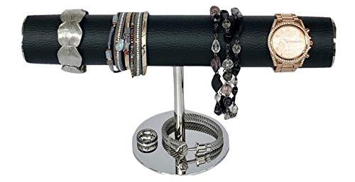 i.cing.home Schmuckständer Uhrenständer Armbandständer Schmuckhalter T form Edelstahl Holz Kunstleder schwarz
