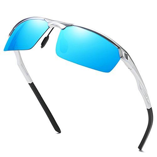 DUCO Herren Sport Stil Polarisierte Sonnenbrille Metallrahmen Brille 8550 (Silber/Blau Verspiegelt) (Ersatz-gläser Sonnenbrille Für Die)