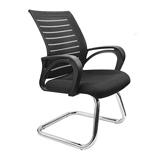 Dripex Freischwinger Bürostuhl mit Armlehnen Netzbezug Konferenzstuhl 55x52x93cm Besucherstuhl Ergonomisch Design Schwingstuhl für Büro (Schwarz)