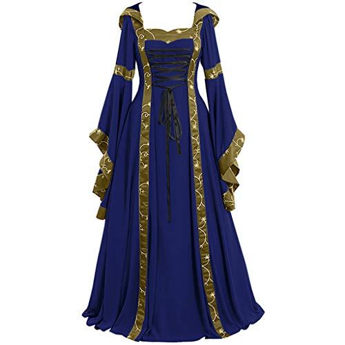 Kostüm Dark Assassin - MAYOGO Damen V-Ausschnitt Langarm Mittelalter Party Viktorianischen Königin Kleider Gothic Jahrgang Prinzessin Renaissance Bodenlänge Maxikleid für Brautjunfer Hochzeit Karneval Fasching Fasnacht